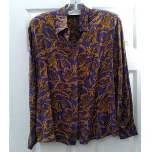 Nordstrom Purple & Gold Design Blouse Size 10